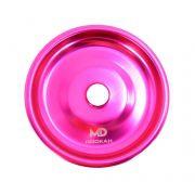 Prato para narguile em alumínio marca MD, tamanho médio (13,3cm de diâmetro, furo 2,2cm). Rosa Escuro