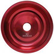 Prato para narguile em alumínio marca MD, tamanho médio (13,3cm de diâmetro, furo 2,2cm). Vermelho