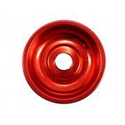 Prato para narguile em alumínio NEW, tamanho pequeno (10,0cm de diâmetro, furo 2,2cm). Vermelho