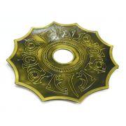 Prato para narguile marca Kimo, modelo Titan Egípcio, em liga inox, pintado. 24 cm de diâmetro.