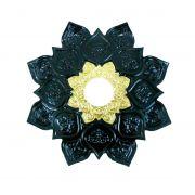 Prato para narguile mod. Athenas 22cm em liga metálica inox e decorado. Cor PRETO Centro Dourado