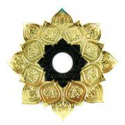 Prato para narguile mod. Athenas 23cm em liga metálica inox e decorado. Cor DOURADO centro PRETO.