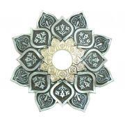 Prato para narguile mod. Athenas 23cm em liga metálica inox e decorado. Cor PRETO ESCOVADO. Centro Prata