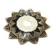 Prato para narguile mod. Ébano 23cm em liga metálica maciço, inox e decorado em alto relevo. Cobre/Cromado