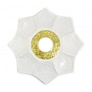 Prato para narguile mod.LÓTUS 20cm., decorado lótus egípcio, inox. Cor Branco.