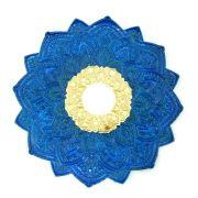 Prato para narguile mod. MALIK 22cm em liga metálica inox e decorado. Cor AZUL ESCURO centro DOURADO.