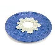 Prato para narguile modelo Vennus 17cm de diâmetro. Liga metálica inox e decorado. AZUL. Centro prata