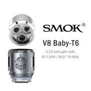 Resistência / Bobina (Coil Head) SMOK V8 BABY T6 0.2 ohm - 40 a 130W - 1 unid.