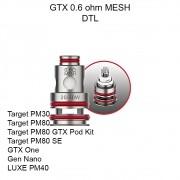 Resistência / Bobina (coil) Vaporesso GTX MESHED 0.6 ohm (PM40, PM80, PM30, GTX ONE, GEN NANO, XIRON), 20 a 30W- 1 unid.