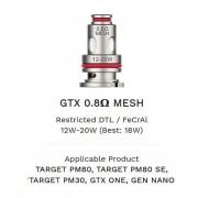 Resistência / Bobina (coil) Vaporesso GTX MESHED 0.8 ohm (PM40, PM80, PM30, GTX ONE, GEN NANO, XIRON), 12 a 20W- 1 unid.