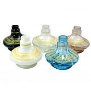 Vaso/base para narguile ALADIN (13,5cm) SHISHA GLASS, listras e desenhos dourados. 3,9cm diâm. bocal
