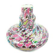 Vaso/base para narguile ALADIN em plástico ESTAMPA HIDROGRÁFICA. 13,5cm alt.; 3,9cm bocal (macho). Caveira Mexicana La C