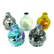Vaso/base para narguile BALL em plástico ESTAMPA HIDROGRÁFICA. 13,5cm alt.; 3,9cm bocal (macho).