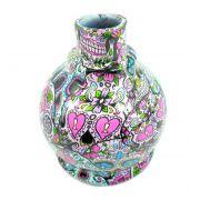 Vaso/base para narguile BALL em plástico ESTAMPA HIDROGRÁFICA. 13,5cm alt.; 3,9cm bocal (macho). Caveira Mexicana