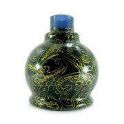 Vaso/base para narguile BALL em plástico ESTAMPA HIDROGRÁFICA. 13,5cm alt.; 3,9cm bocal (macho). Preto com arabescos dou
