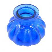 Vaso/base para narguile em vidro moldado, pequeno, 8cm de altura. Encaixe tipo fêmea. Azul