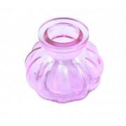 Vaso/base para narguile em vidro moldado, pequeno, 8cm de altura. Encaixe tipo fêmea. Rosa