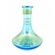 Vaso/base para narguile GENIE / ALADIN MÉDIO 25cm, MD HOOKAH, AZUL AQUAMARINE decoração dourada. 4,5cm diam. bocal.