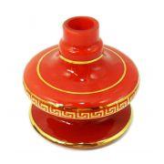 Vaso/base para narguile Shisha Glass NIX, em vidro VERMELHO com FAIXA GREGA dourada (13cm). Encaixe macho.