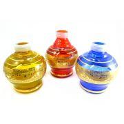Vaso/base para narguile Kimo (14,5cm), modelo bojudo c/FAIXA GREGA dourada. Encaixe macho (interno).