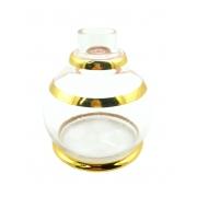 Vaso/base para narguile Luna Ball DECORADO C/ LISTRAS DOURADAS. 13cm alt. Encaixe macho (interno). Transparente c/ listr