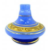 Vaso/base para narguile Shisha Glass NIX, em vidro AZUL com FAIXA GREGA dourada (13cm). Encaixe macho.
