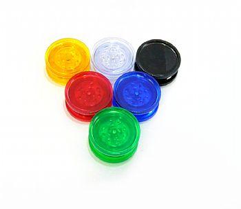 Desfiador / Triturador / Dichavador em plástico com imã, marca MUNDIAL. 5,5cm diâm. e 2,1cm altura.
