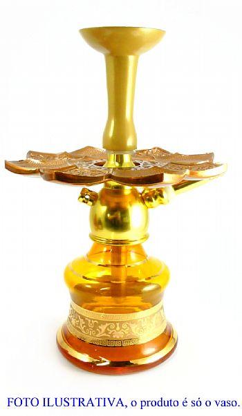 Vaso/base para narguile marca Kimo (15cm), acinturado, com FAIXA GREGA. Encaixe macho (interno).