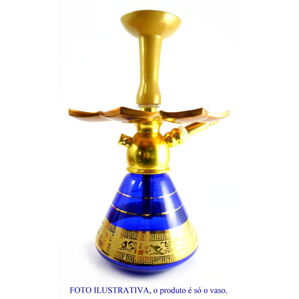 Vaso/base para narguile Kimo (15cm) piramidal, com FAIXA GREGA. Encaixe macho (interno).