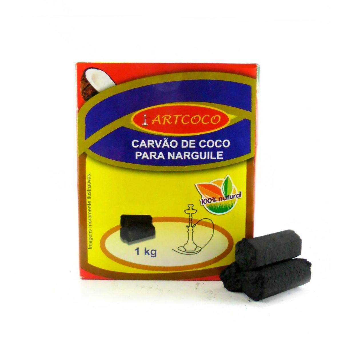 Carvão de coco para narguile e incenso Art Coco 1KG - caixa com 60 unidades hexagonais.