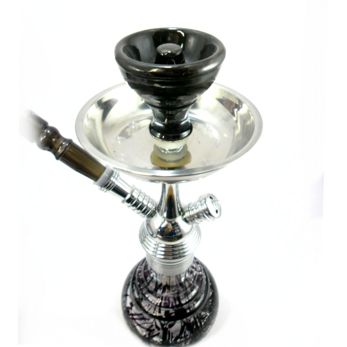 Narguile Yahya 34 cm, inox cromado. Vaso PRETO murano rosqueado. Mangueira extensível Rosh Vortex. MV34_1MANG_PRETO