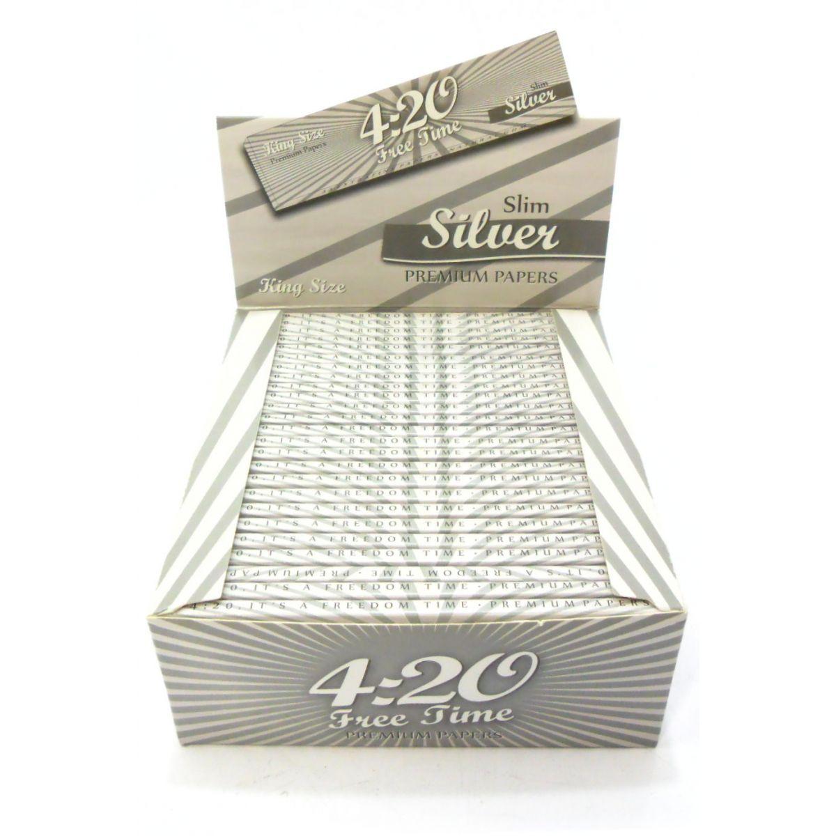 Caixa de seda ULTRA420, KING SIZE SILVER, caixa com 50 livros com 33 folhas cada.