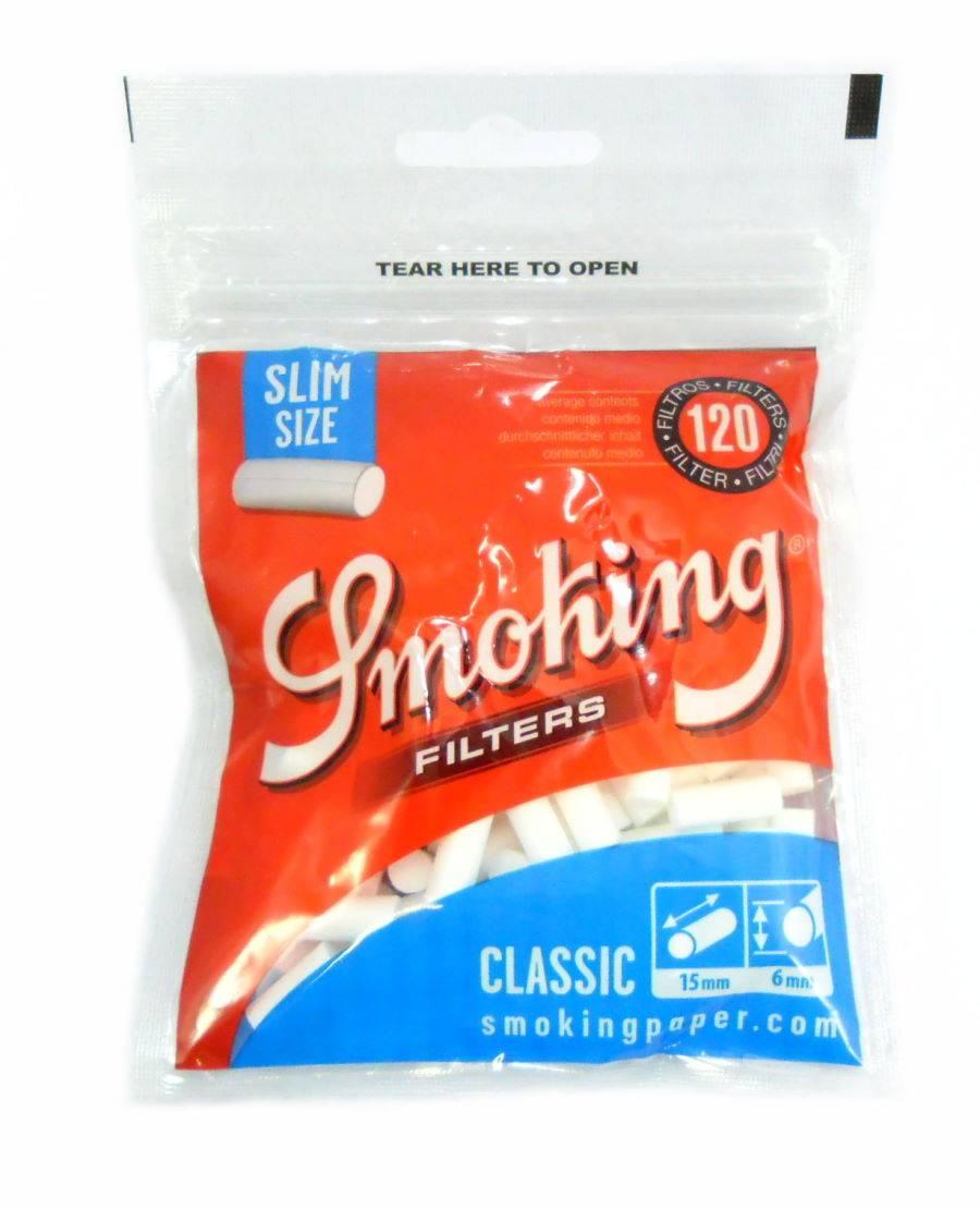 Filtro para Cigarros marca Smoking. Tamanho Slim Com 120 unidades.