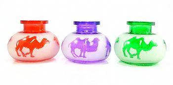 Vaso em vidro de encaixar pequeno, jateado e decorado com desenhos, 8 cm. de altura.  - LILÁS, VERM ou VERDE
