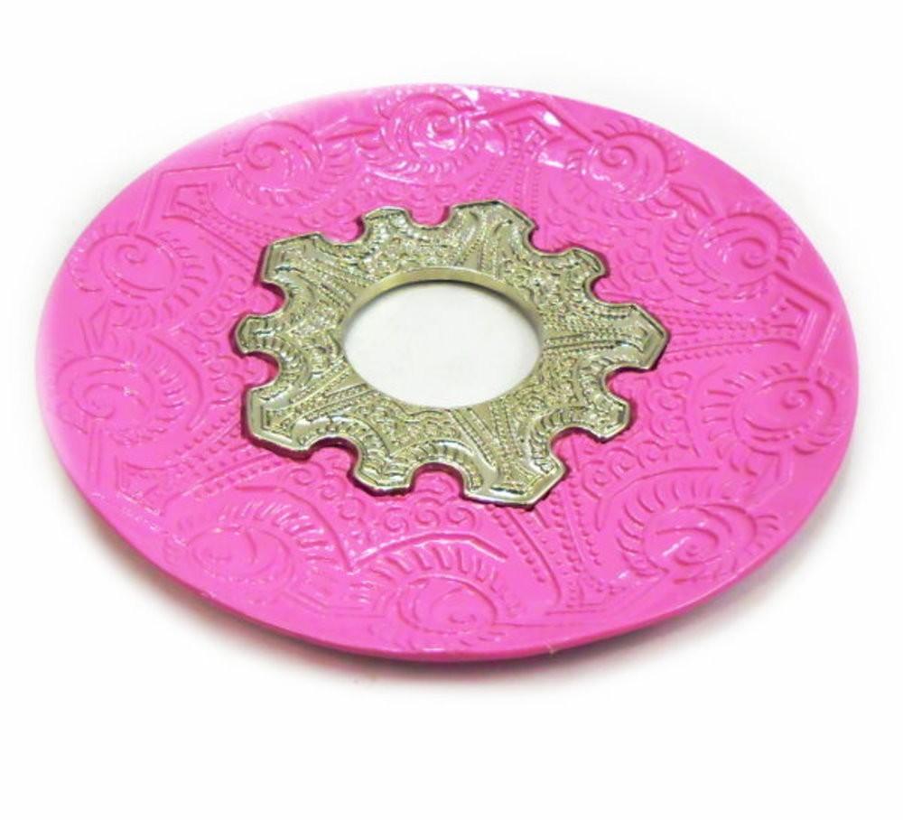 Prato para narguile Vennus 17cm de diâmetro. Liga metálica inox e decorado. ROSA ESCURO (PINK).