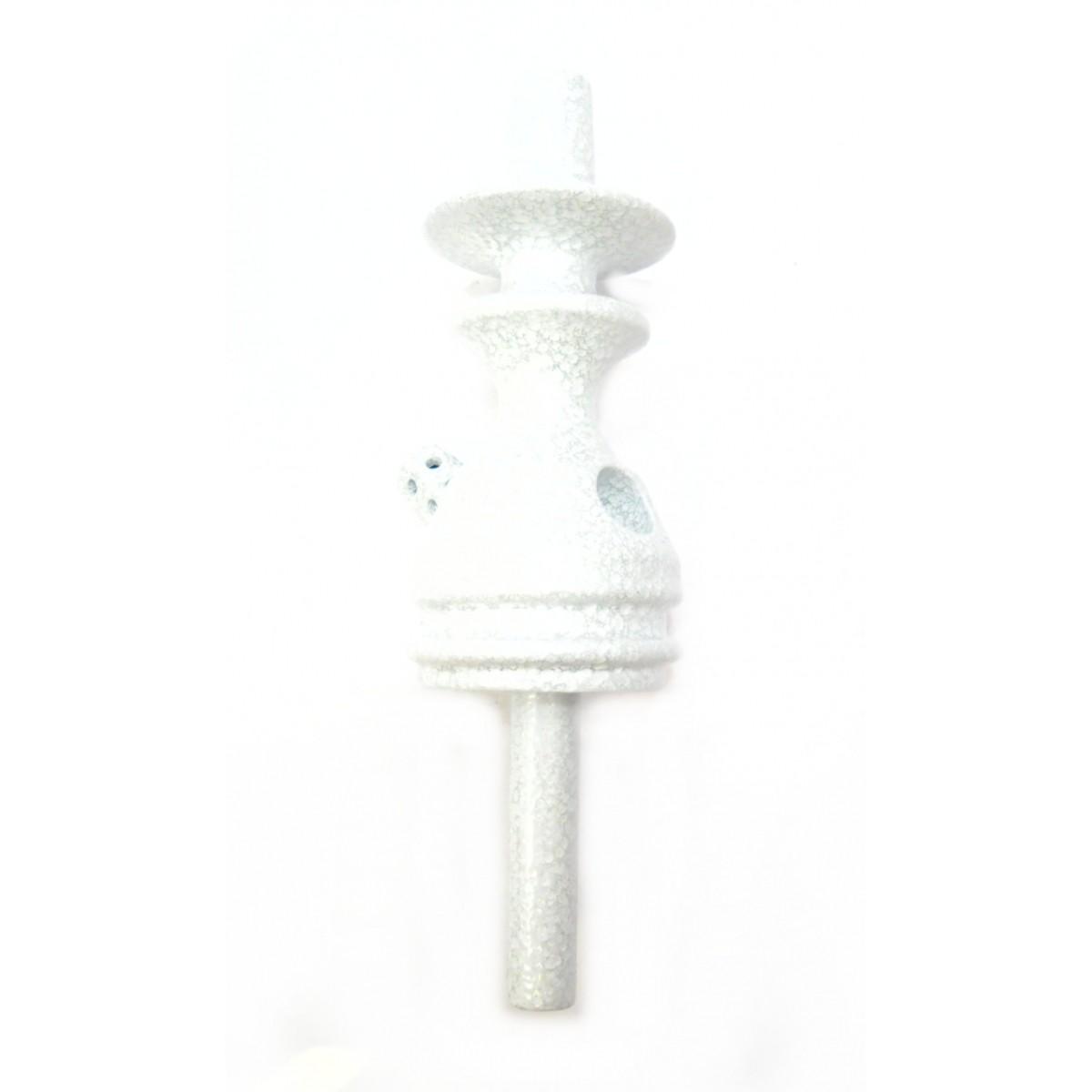 Stem (corpo de narguile) JUDITH BRANCO MARTELADO 22cm., inox (alumínio), dutado e usinado.