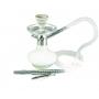 Narguile MD Hookah ALADIN 25cm CROMADO. Vaso Genie branco, stem usinado em alumínio, pintura anodizada, mang. lavável