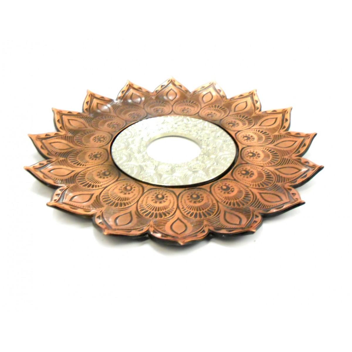 Prato para narguile Pérsia 21cm em inox pintado, decorado flor de lótus. Cor COBRE centro PRATEADO.
