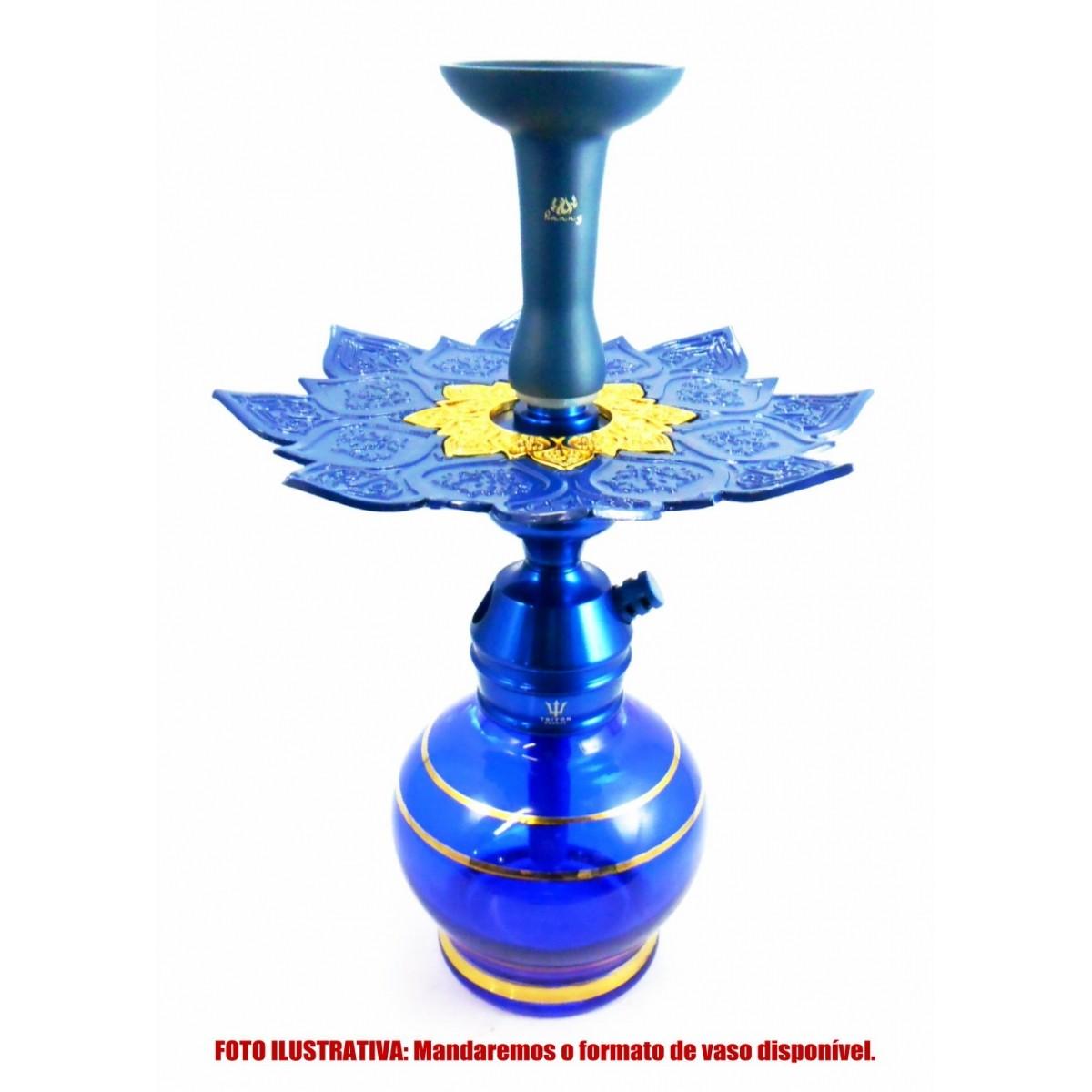 Narguile TRITON ZIP 35cm SETUP sem mangueira, vaso Kimo AZUL dourado, fornilho alumínio azul, Prato Athenas Azul/Dourado
