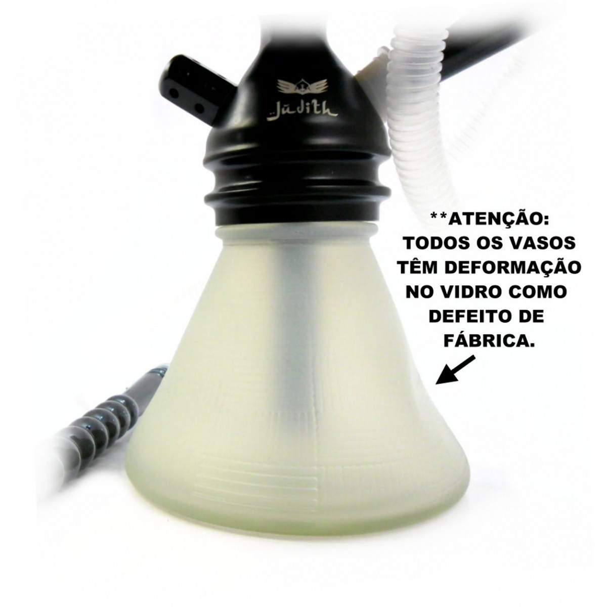 Narguile JUDITH POLIDO 33cm, vaso Petit BRANCO, mangueira MD HOSE PRETA, fornilho Flux Bowl, prato VENNUS PRETO/CROMADO