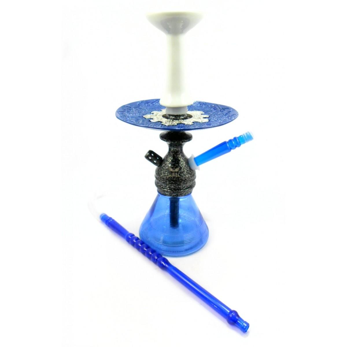 Narguile JUDITH PRETO MARTELADO 33cm, vaso Petit AZUL, mangueira MD HOSE, fornilho Flux PRETO, prato Vennus Azul/Cromado
