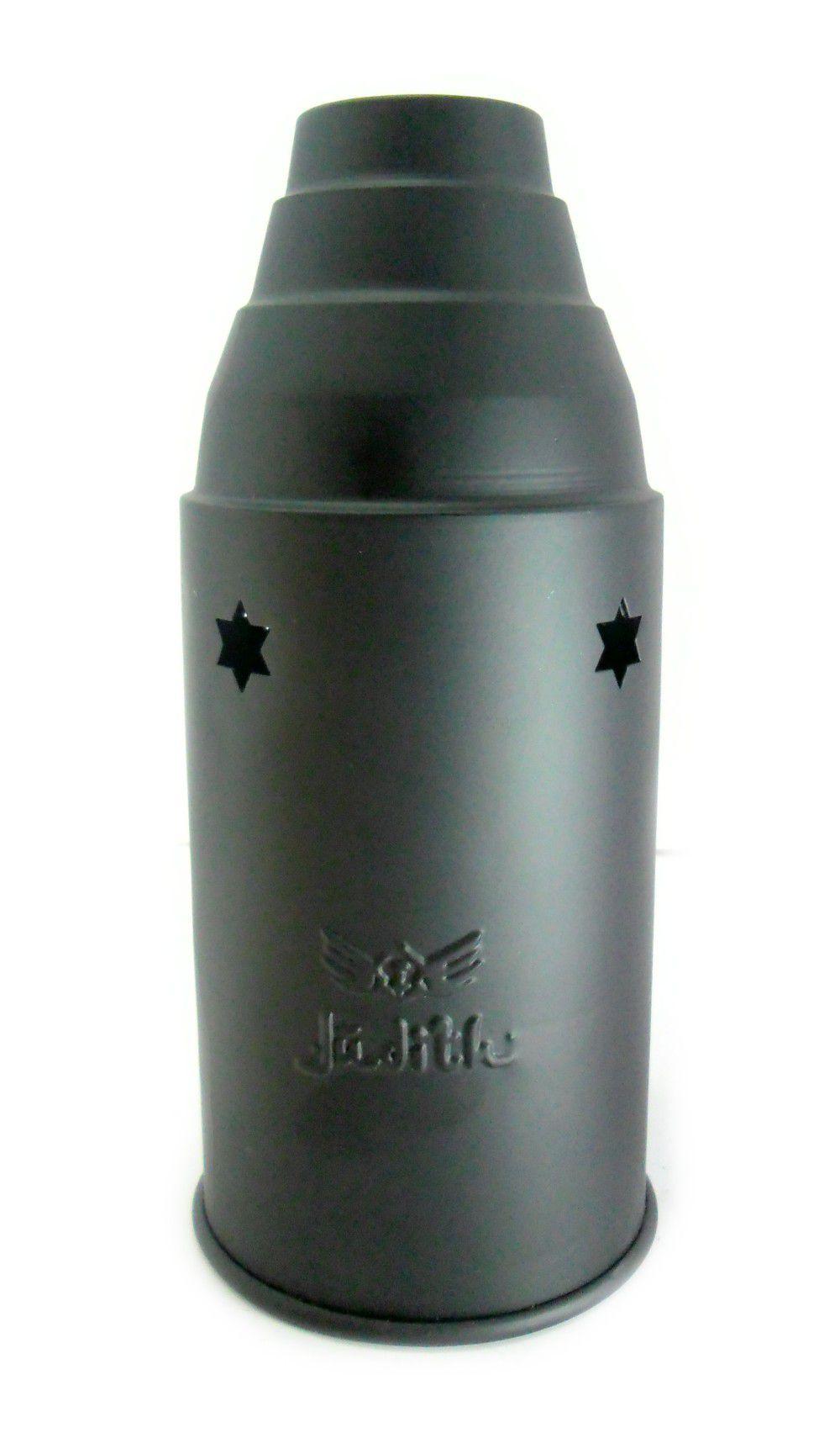 Abafador para narguile marca JUDITH em alumínio, pintura anodizada/epoxi. 10,5 cm diâmetro e 24 cm altura.