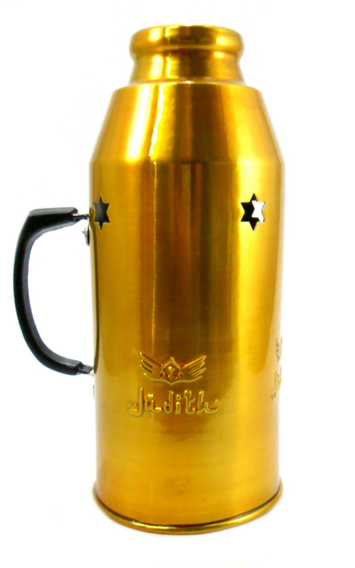 Abafador para narguile marca JUDITH em alumínio, pintura anodizada/epoxi. 10,5 cm diâmetro e 24 cm altura. Dourado
