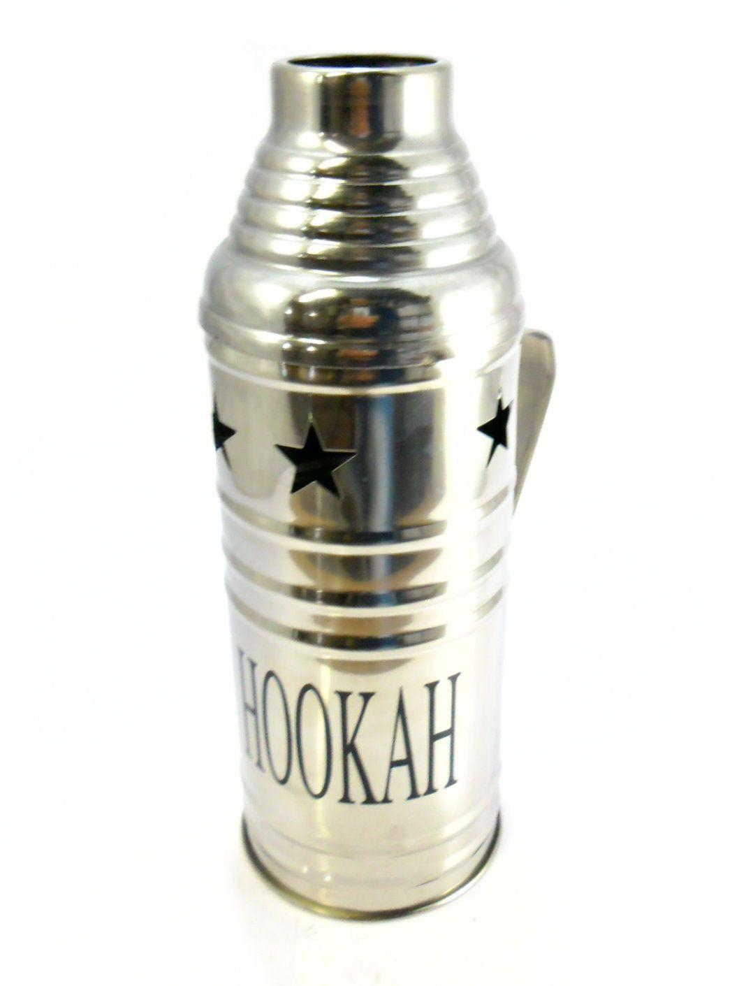 Abafador para narguile marca MD Hookah, em metal cromado, com alça. 9,5 cm de diâmetro e 26 cm alt.