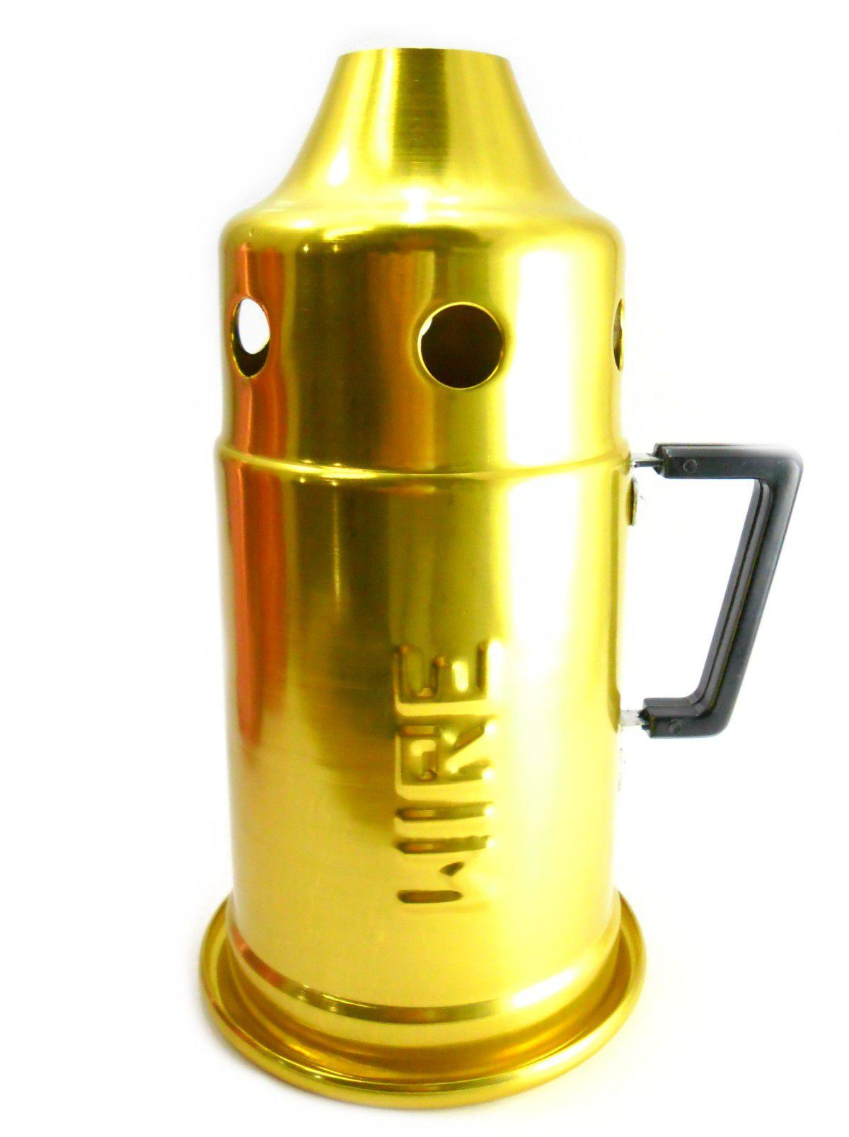 Abafador para narguile WIRE médio (22cm) alumínio, pintura epóxi/anodizada. 12cm diâm. e 22cm alt. Dourado