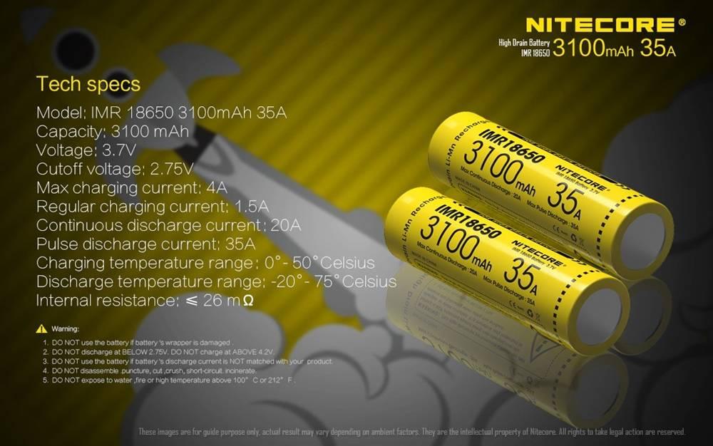 Bateria Nitecore IMR 18650 (3100mAh) Li-Ion 35A - Nitecore - 1 unidade.