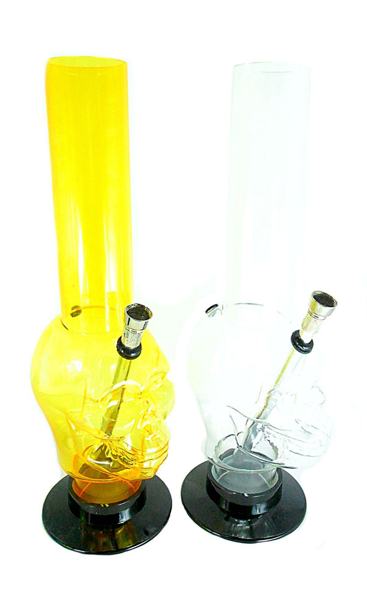 Bong de acrílico MD HOOKAH, GRANDE 32cm, base removível. Estampas e cores diversas.