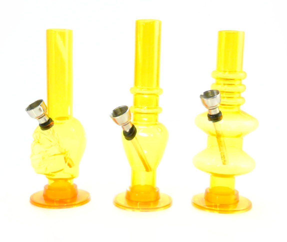 Bong de acrílico MD HOOKAH, mini 15cm, base removível para limpeza. Amarelo