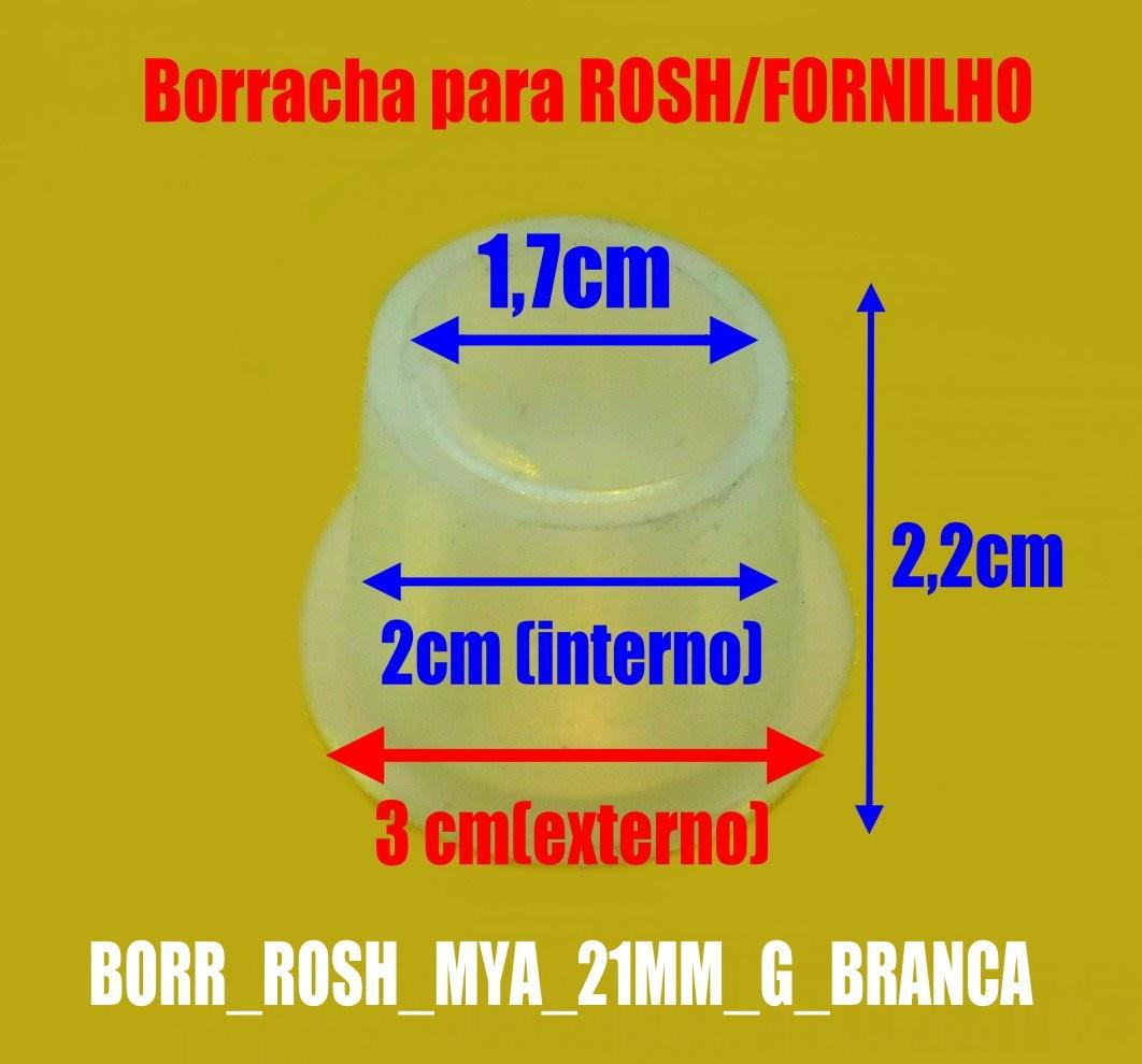 Borracha / Vedação padrão para fornilho, 21mm de altura, MYA FÊMEA. Em silicone. - BORR_ROSH_MYA_21MM_G_BRANCA