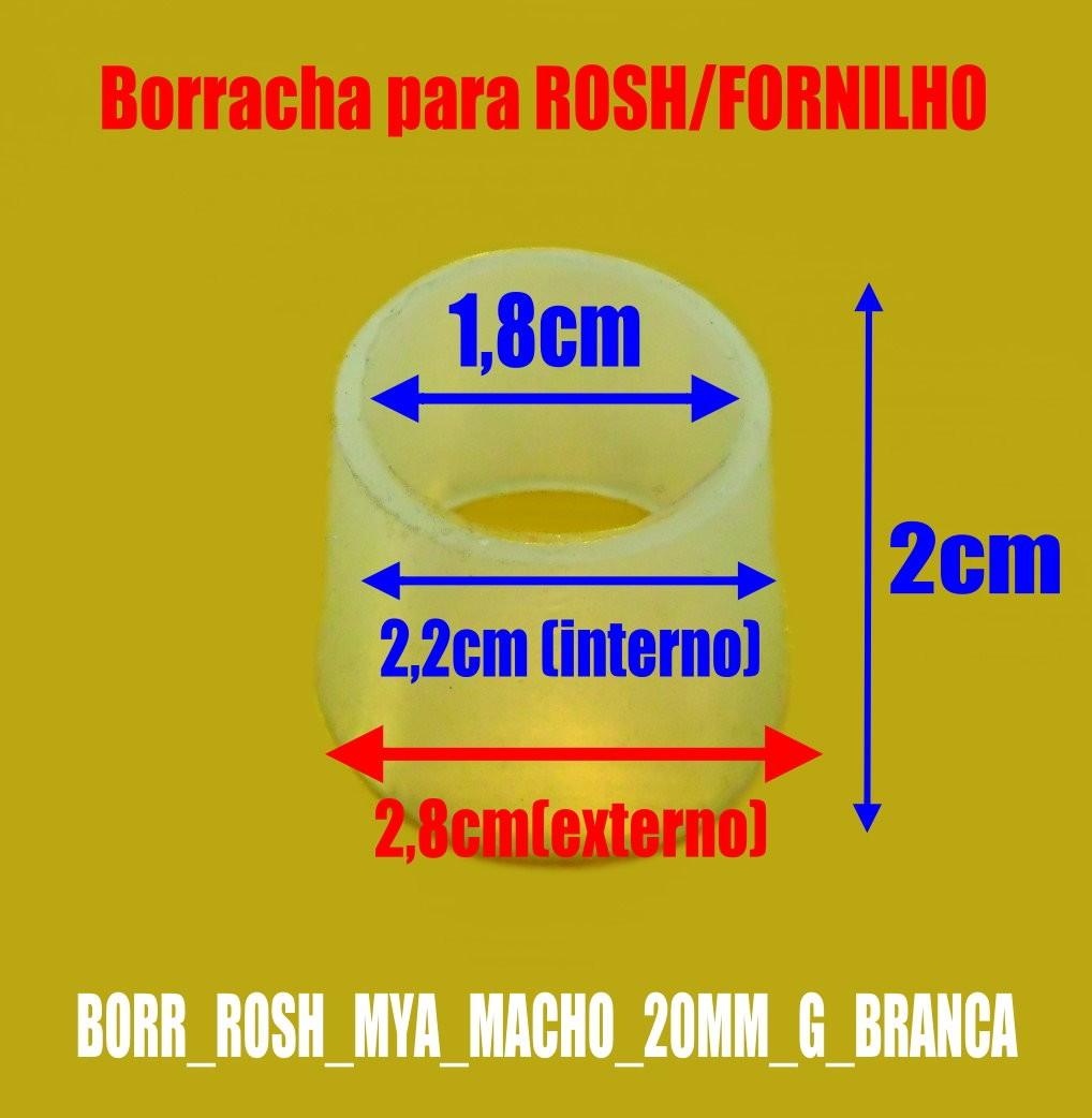 Borracha / Vedação para fornilho, 20mm de altura, MYA padrão macho ou fêmea. Em silicone. - BORR_ROSH_MYA_20MM_G_BRANCA